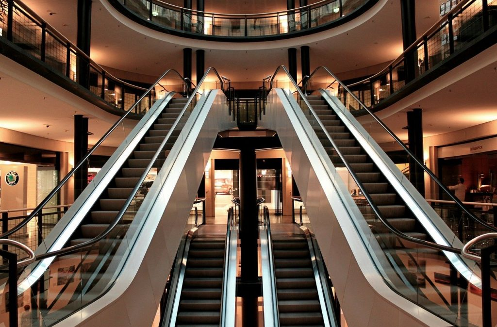 escalator, stairs, metal segments